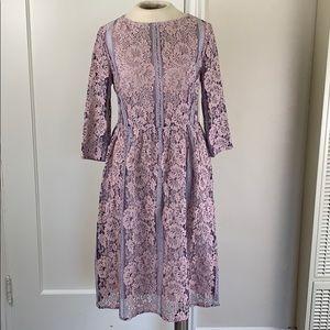 Metisu apricot lace midi dress cutwork trim